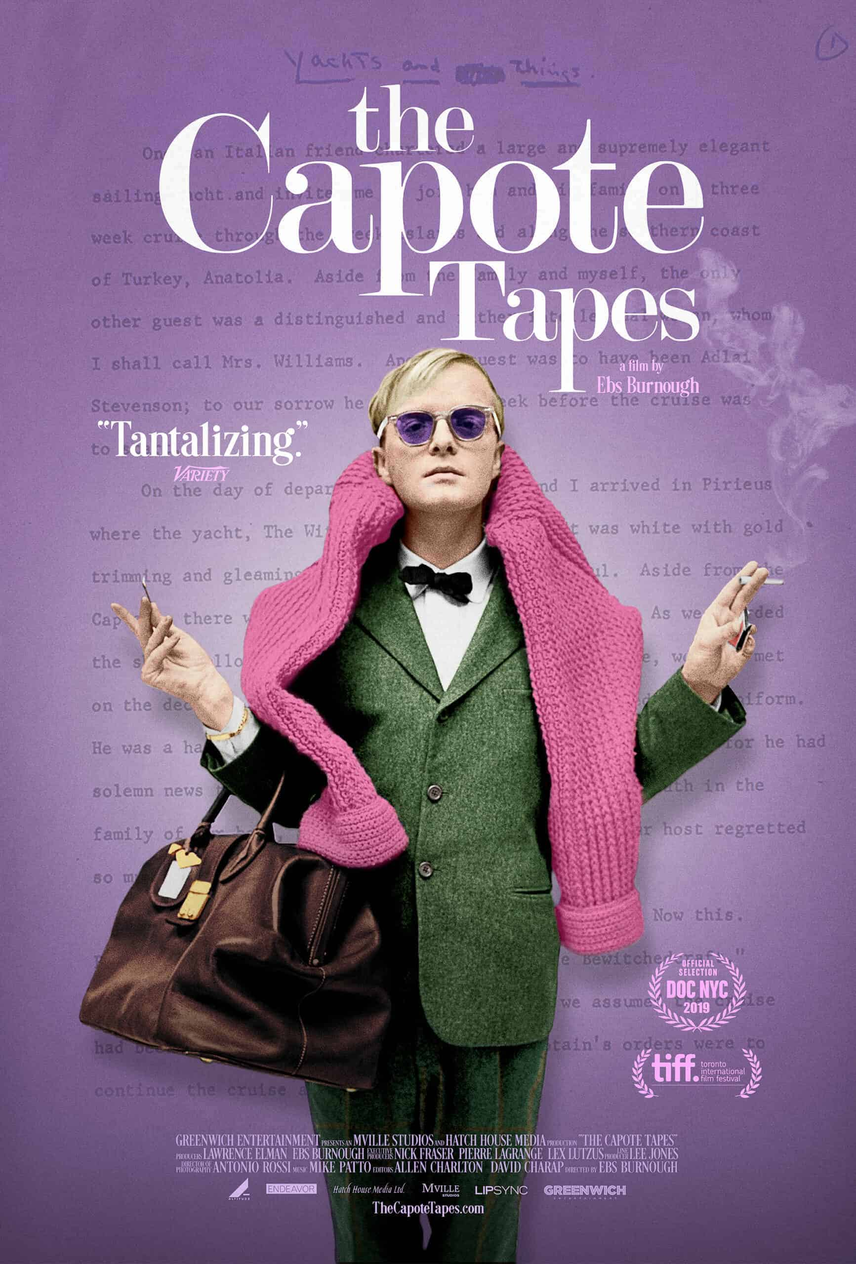 Poster showing Capote wearing green suit, sunglasses, and a pink sweater
